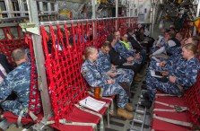 Members of the Australasian Supply Chain Industry join Air Force and Defence Civilian personnel inside the C-130J Hercules fuselage trainer. *** Local Caption *** Logistics experts from Defence and civilian industry worked together at RAAF Base Richmond on 26 September 2018 in a disaster response training scenario following a notional cyclone in northern Queensland. The training activity was intended to demonstrate how Defence employs logistics to up to 40 members of the Australasian Supply Chain Institute, and for Defence to build closer ties with their civilian counterparts. The event also provided an opportunity for a presentation by Oracle to showcase developing technology in the field of logistics and supply chain management.